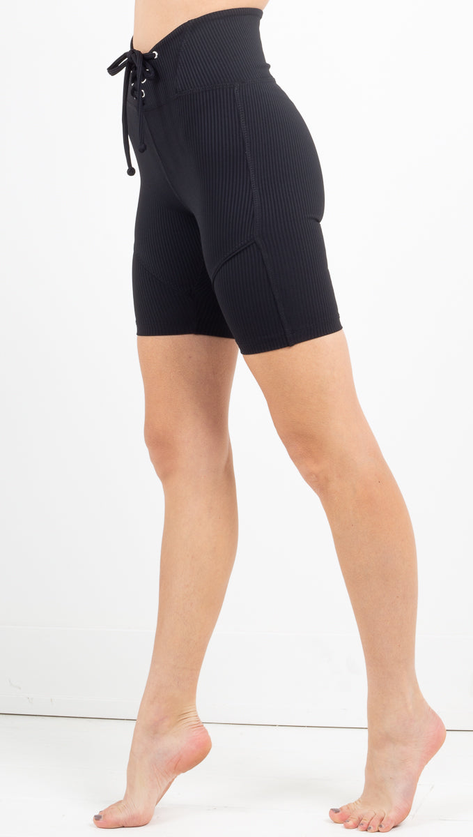Year Of Ours black high waist ribbed biker shorts with lace up front