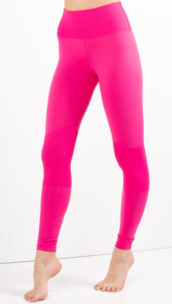 Year Of Ours hot pink leggings with ribbed block detail