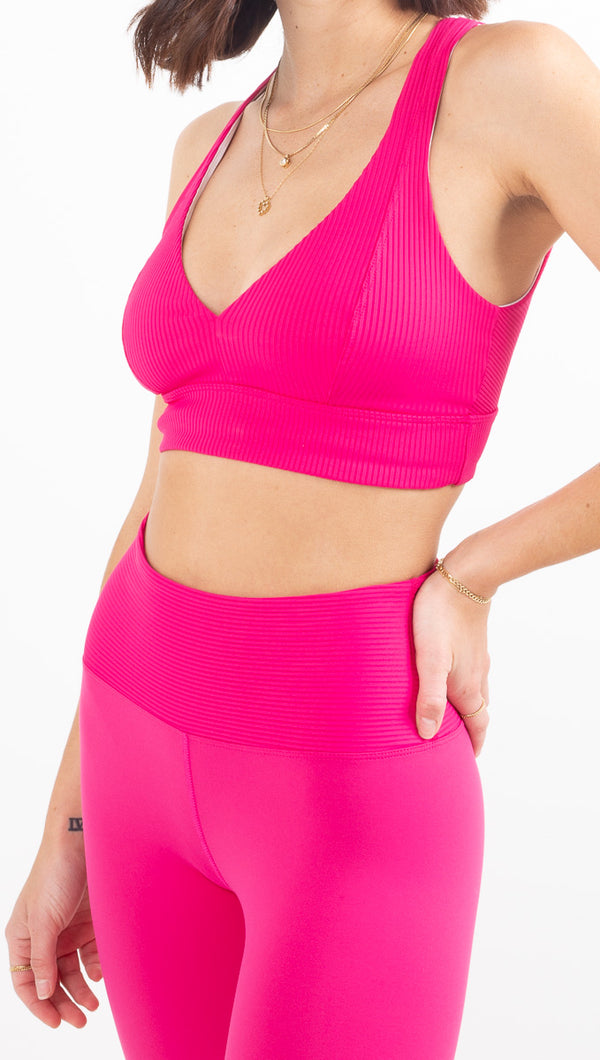 Year Of Ours hot pink ribbed thick sports bra