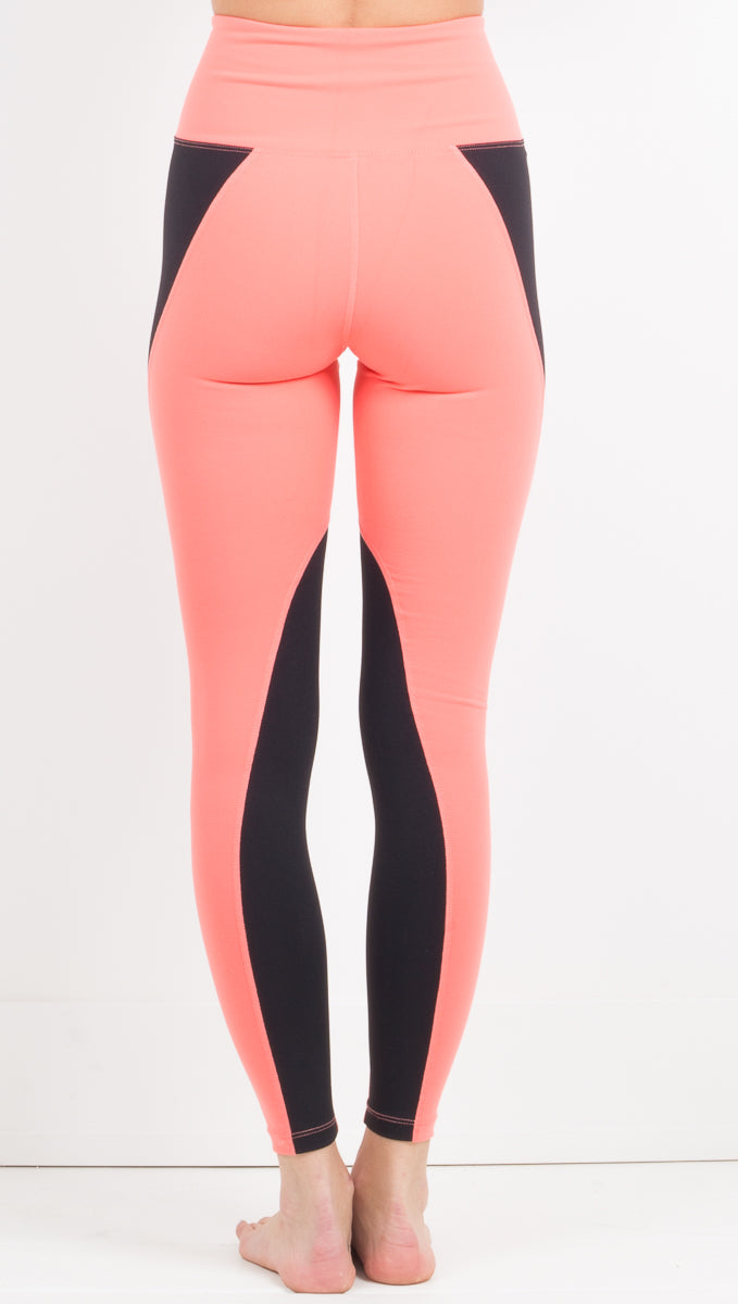 Two-Tone Football Legging - Coral/Black
