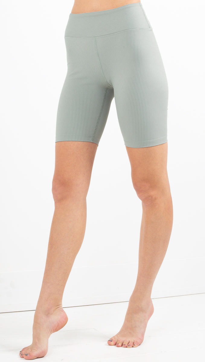 Year Of Ours high waisted light green ribbed biker shorts