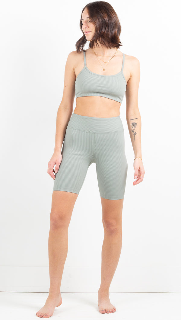 Ribbed Biker Short - Sage