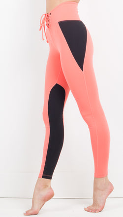 Year Of Ours Two Tone Coral and Black Leggings with Tie Front