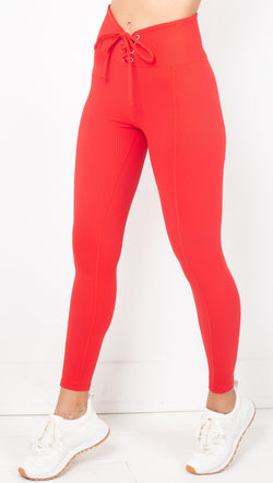 Year Of Ours Red Ribbed Lace Up Leggings