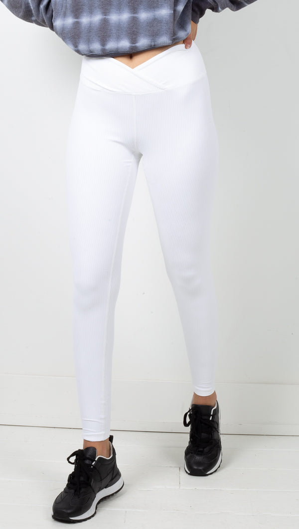 Year Of Our White High Waisted Ribbed Leggings