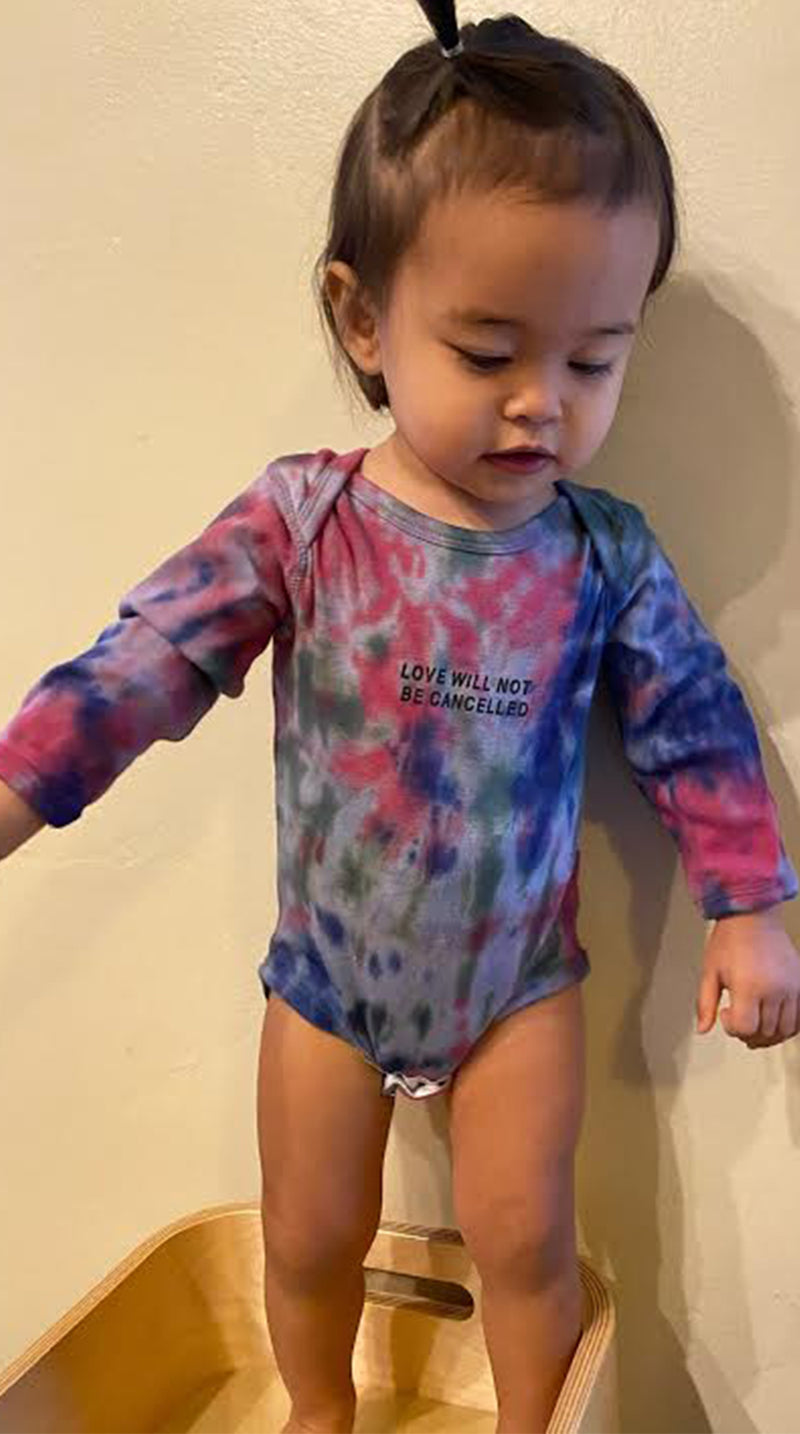 Love Will Not Be Cancelled Onesie - Jewel Tone Tie Dye
