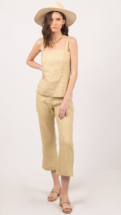 Zulu and Zephyr Green Linen Cropped Flare Leg Pant