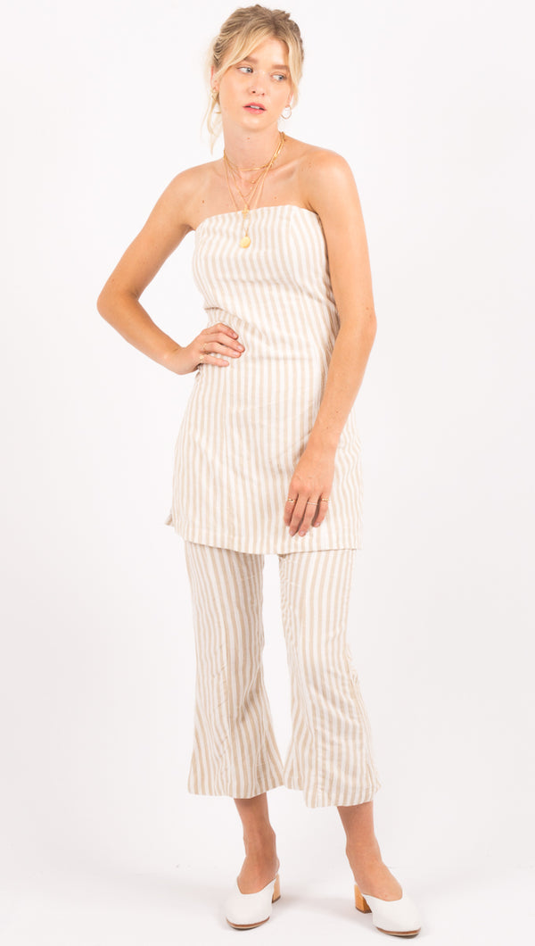 Zulu & Zephyr Beige Stripe Cropped Pants