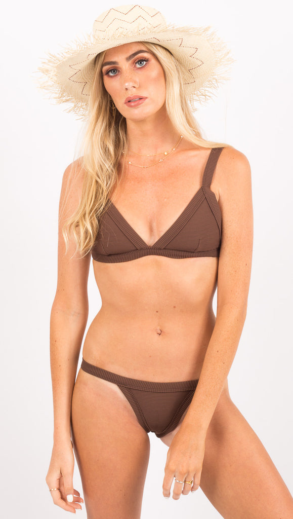Zulu And Zephyr Brown Ribbed Bikini Top