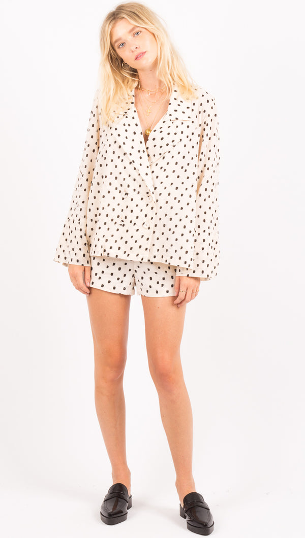 Zulu And Zephyr Cream And Black Polka Dot Shorts