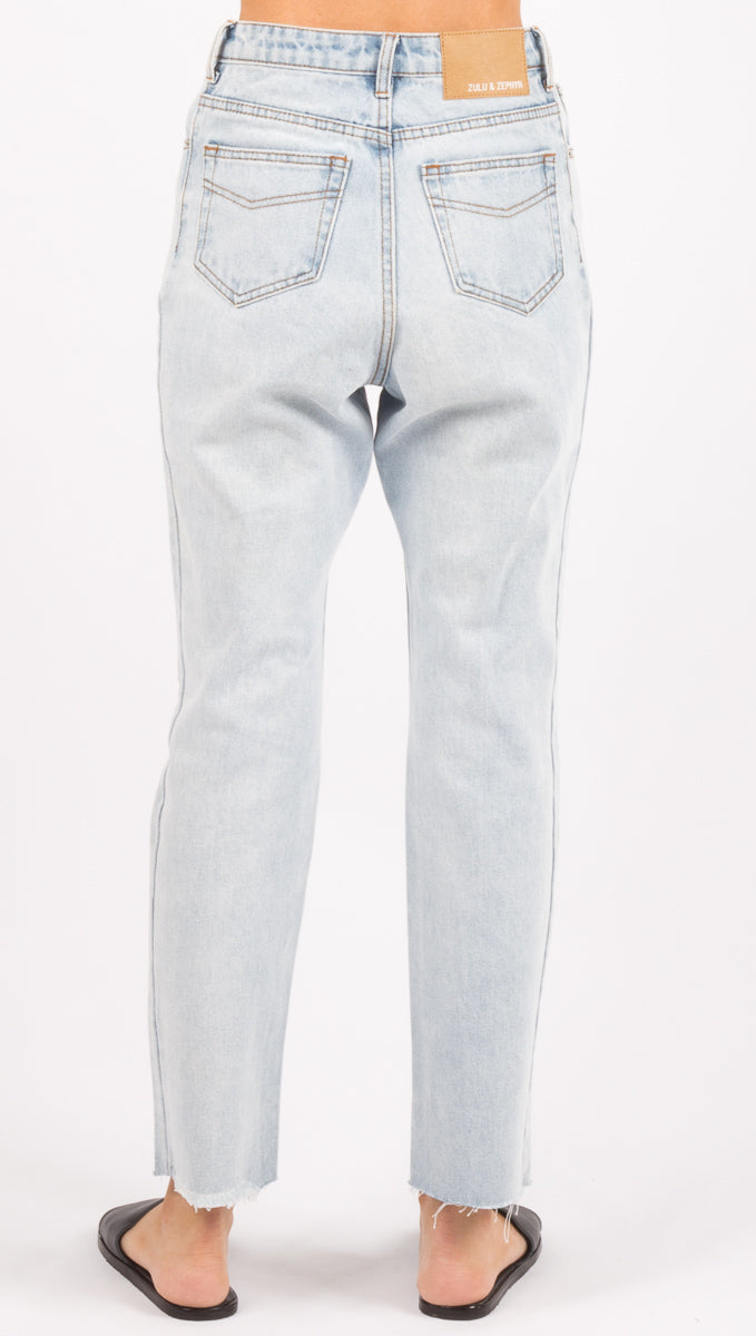 Zed High Rise Straight Leg Jean - Light Blue Wash