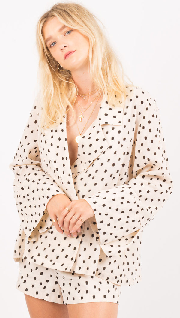 Zulu And Zephyr Cream And Black Polka Dot Blazer Top