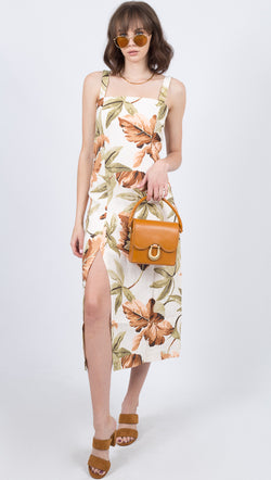 Zulu and Zephyr Palm Patterned Linen Tank Midi Dress With Slit