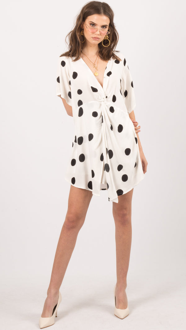Zulu And Zephyr White Dot Pattern Mini Dress