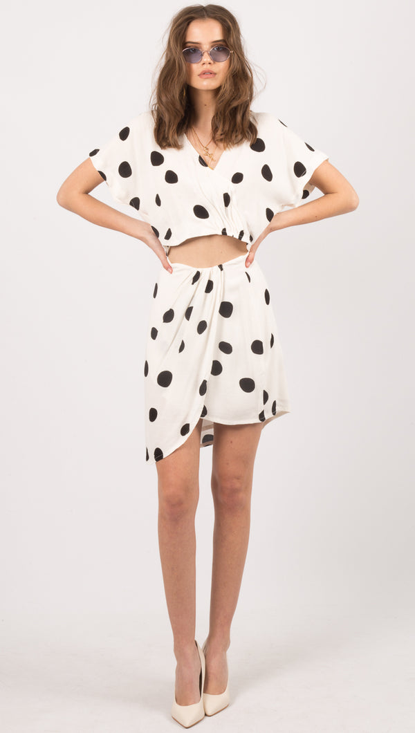 Zulu & Zephyr White Dot Print Mini Skirt
