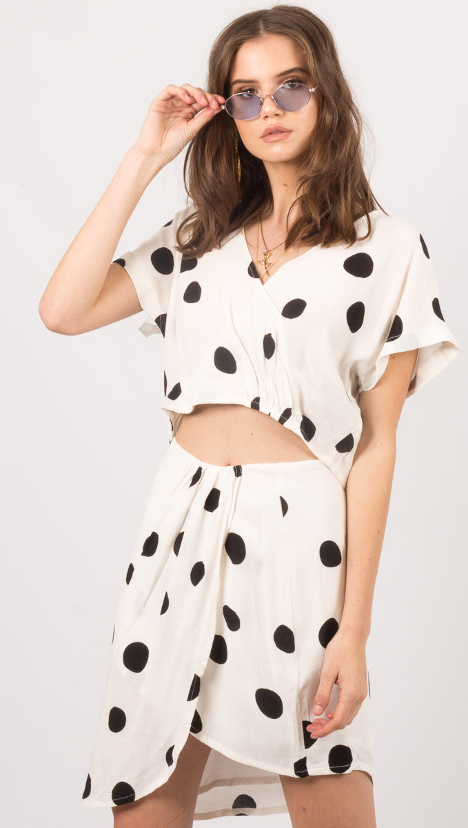 Zulu And Zephyr White Dot Print Crop Top