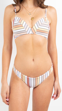Zulu and Zephyr milt colored striped bra cup bikini set
