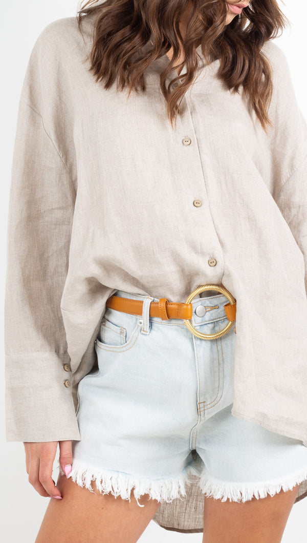 Zulu and Zephyr beige long sleeve linen button up
