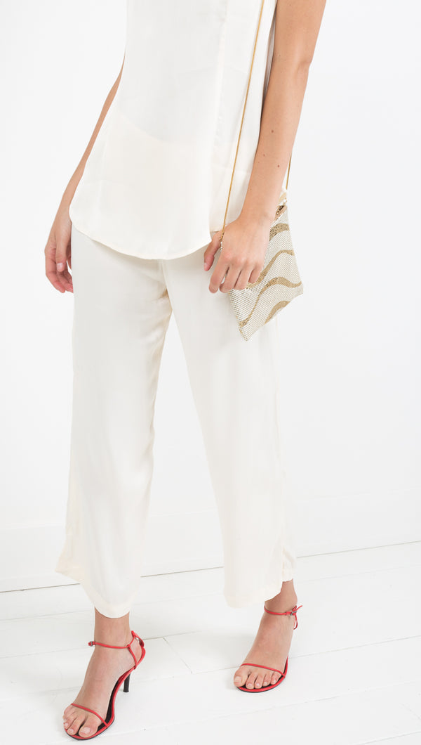 Zulu and Zephyr champagne silky crop pant