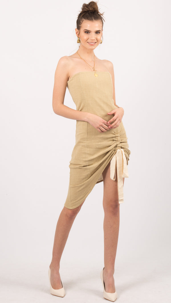 Zulu And Zephyr Olive Strapless Mini Dress