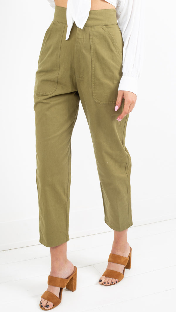 Zulu and Zephyr green high waisted fabric pants