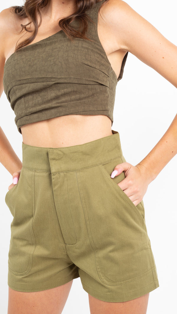 Zulu and Zephyr green high waisted fabric shorts