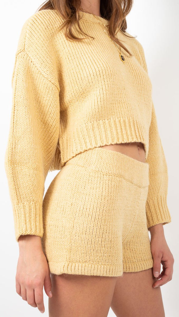 Zulu & Zephyr Yellow Knit Sweater Shorts