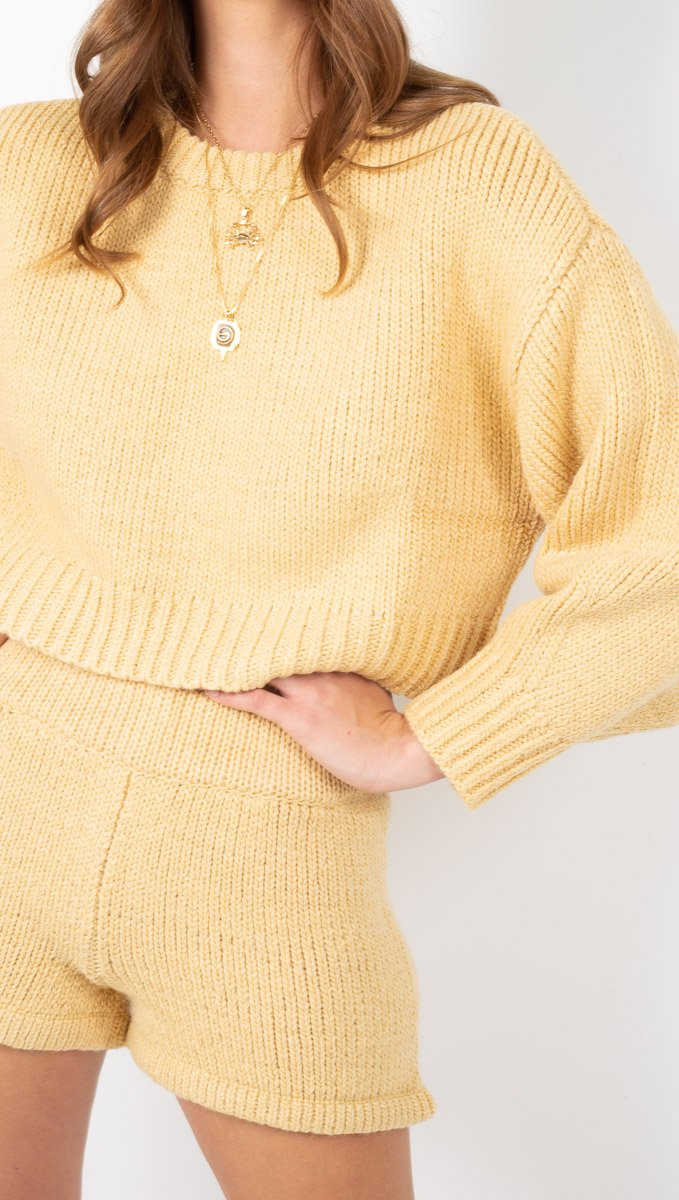 Zulu & Zephyr Cropped Yellow Knit Sweater