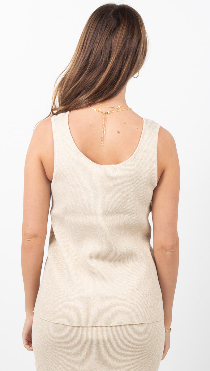 Exposure Knit Tank - Gold Lurex