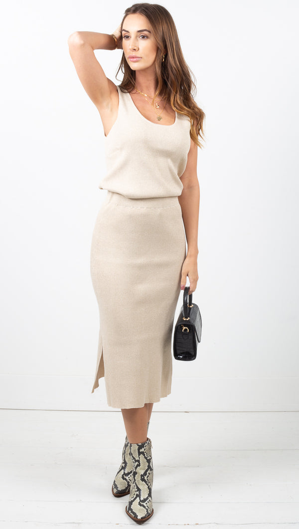 Exposure Knit Skirt - Gold Lurex
