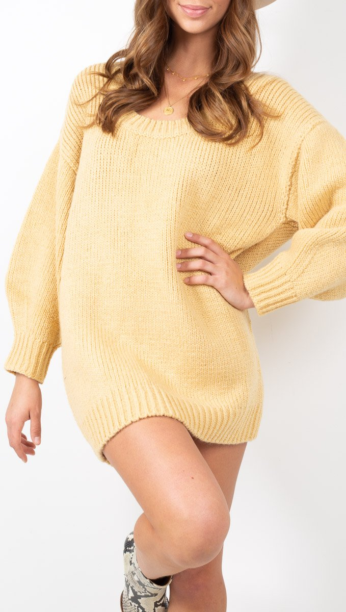 Zulu & Zephyr Yellow Knit Sweater Mini Dress