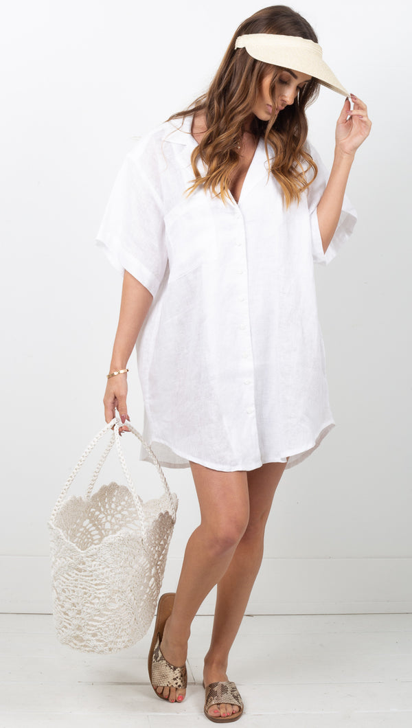 Arcadia Shirt Dress - White