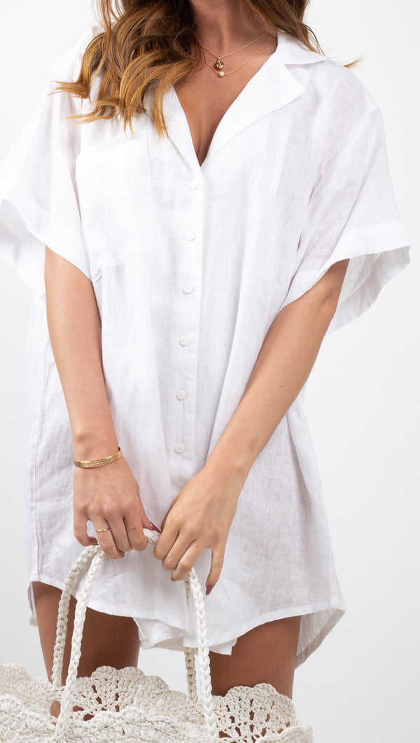 Zulu & Zephyr White Linen Button Down Dress