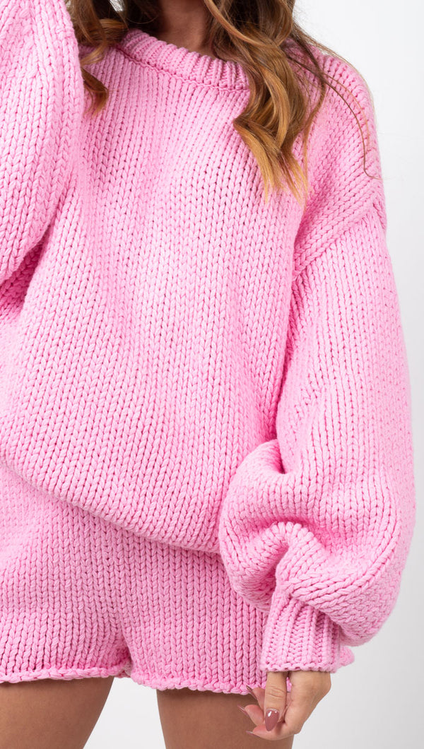 Zulu & Zephyr Pink Chunky Knit Oversized Sweater