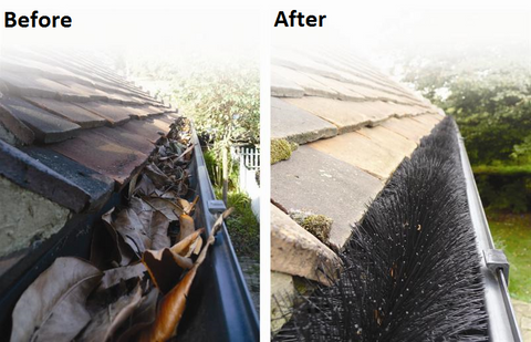 Before & After Installation of Leaf Gutter Guard