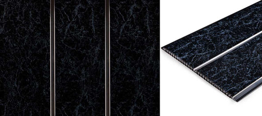 Black Marble And Chrome Ceiling Cladding 2 Strips 2.7mtrs x 250mm x 8mm Per Panel - Home Improvement Supplies Ltd