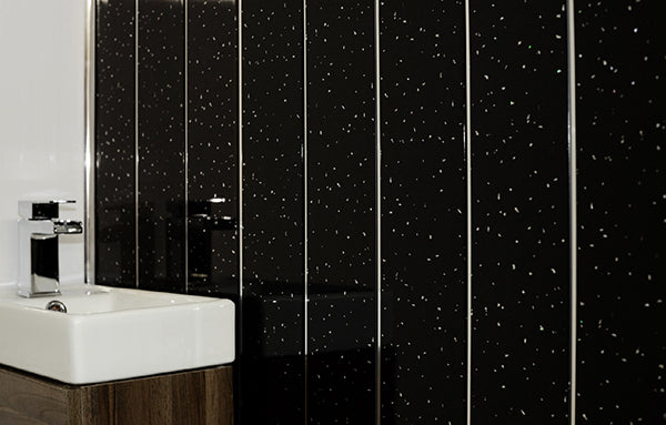 Black Diamond And Chrome Ceiling Cladding 2.7m x 250mm x 10mm Per Panel - Home Improvement Supplies Ltd