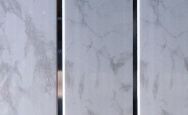 Grey Marble And Chrome Ceiling Cladding 2.7mtrs x 250mm x 8mm Per Panel - Home Improvement Supplies Ltd