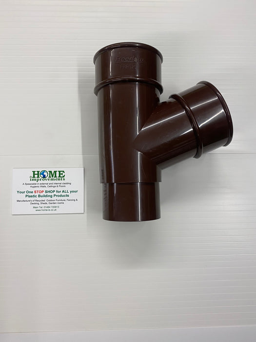 Round Downpipe Branch 112 Degrees Brown - Home Improvement Supplies Ltd