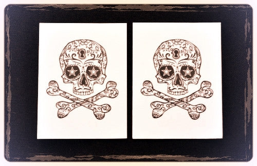 Skull and Crossbones Halloween Tattoo Set