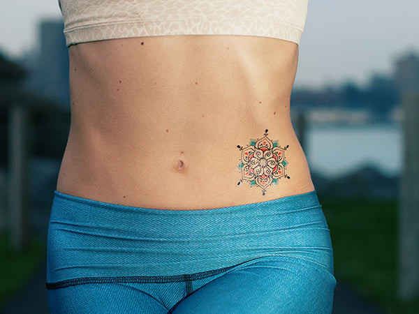 Blue Henna Mandala Temporary Tattoo