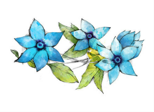 Blue Flower, Watercolor, Bohemian, Vintage Flower Tattoo Set
