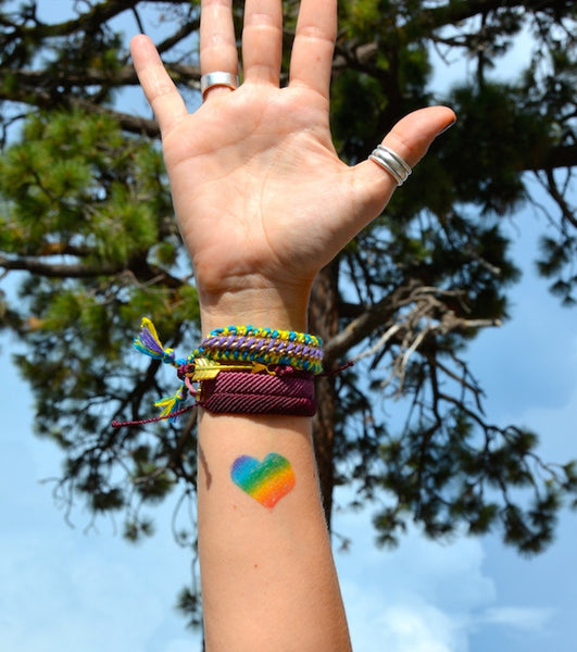Rainbow Heart Temporary Tattoo Set