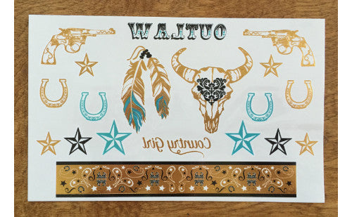Metallic Gold, Silver, Turquoise Western Temporary Tattoo - MyTaT