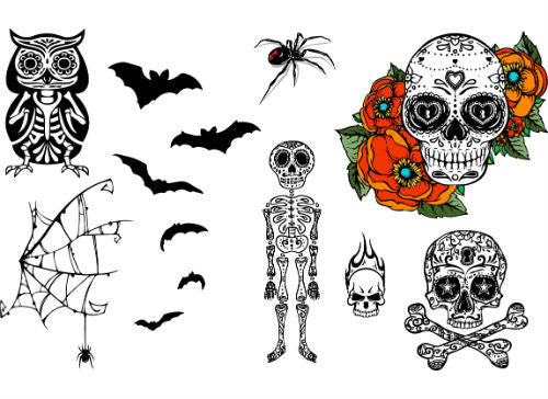 Skull & Cross Bones, Skeleton, Bats, Sugar Skull, Owl Set