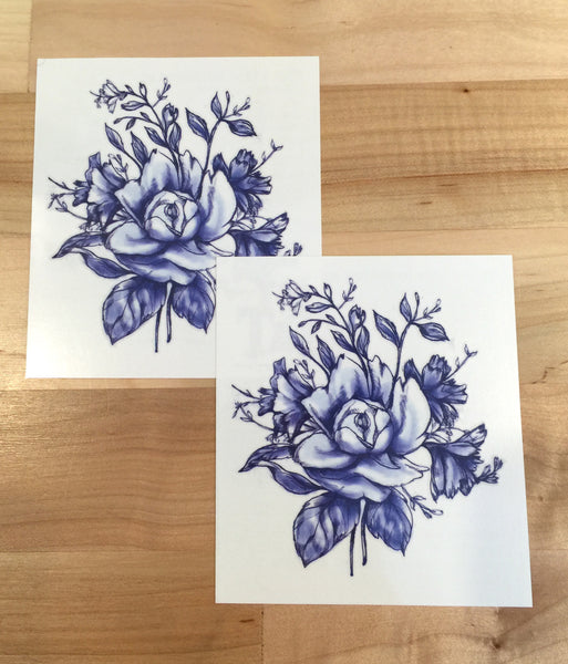 Dark Blue Vintage Flower Tattoo - MyTaT