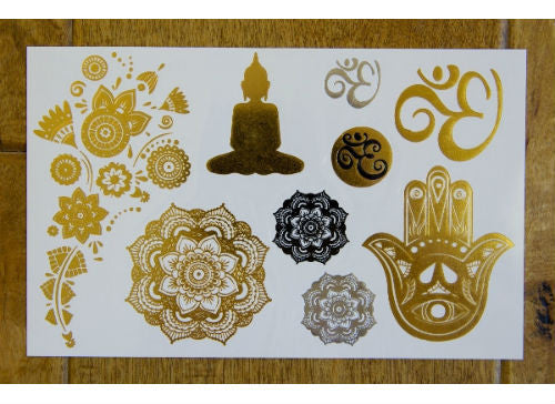 Metallic Yoga Gold and Silver Temporary Tattoos
