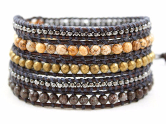Leather Wrap Bead Bracelet-Naughty Black