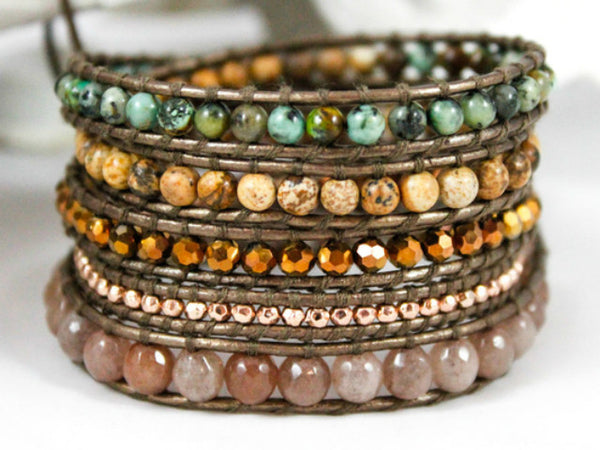 Leather Wrap Bead Bracelet - Earth Love