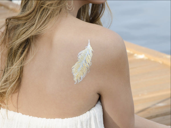 Metallic Feather Temporary Tattoo MyTaT